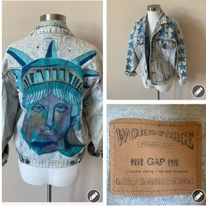 Vintage Gap NYC custom painted denim jacket #6213